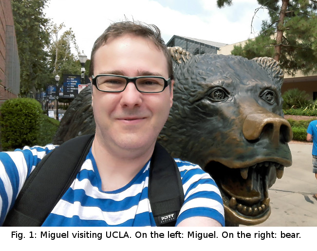 Miguel with UCLA's bear